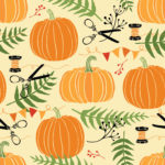 Festive decoration, pumpkins and ferns. Hand drawing